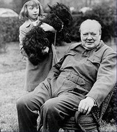 Winston Churchill, sa fille et son chien
