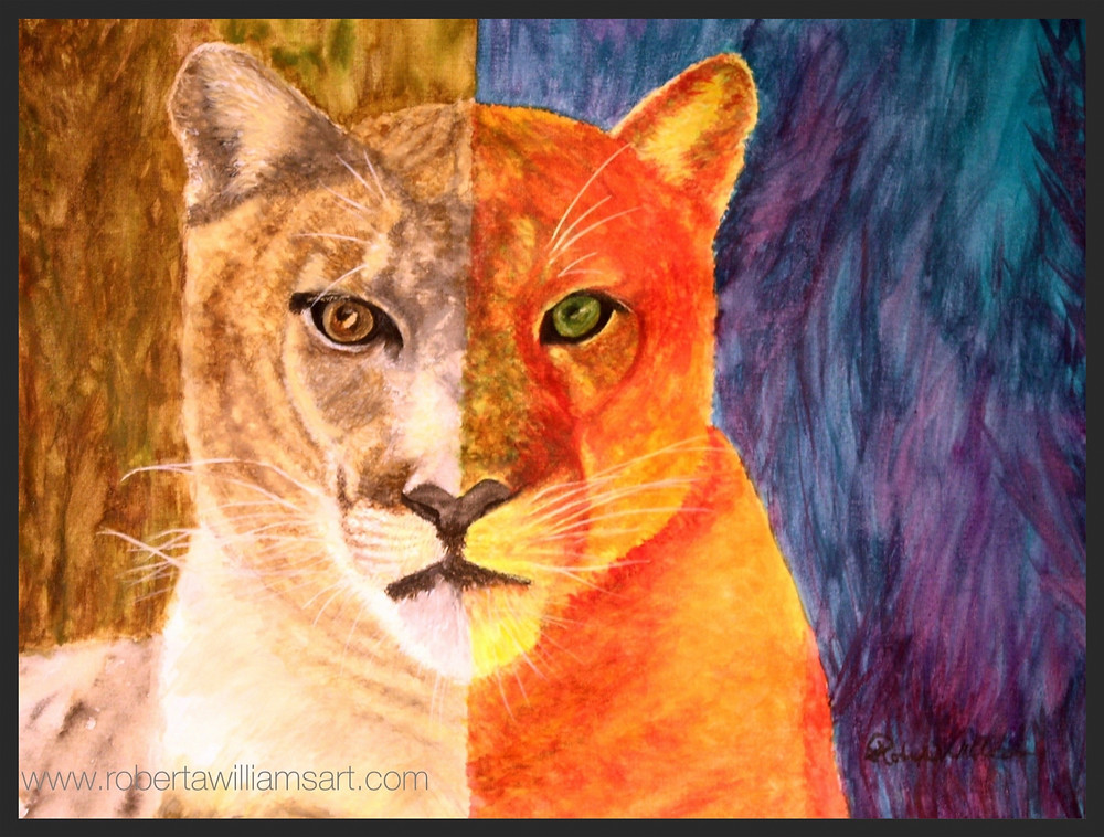 Red Puma - Watercolor on Canvas 20 x 24.jpg