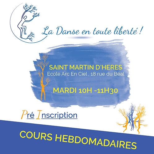 Pré inscription Cours Saint Martin D'Hères Mardi 10H – 11H30