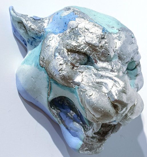 Ix-jaguar head pewtor/jesmonite