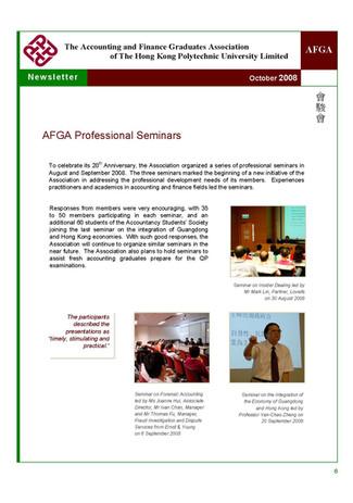 AFGA Newsletter issue 15 (Oct 2008)