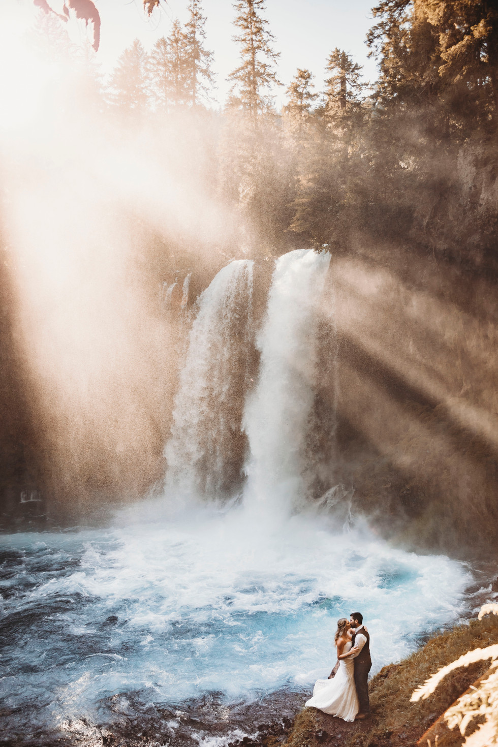 elopement wedding waterfall