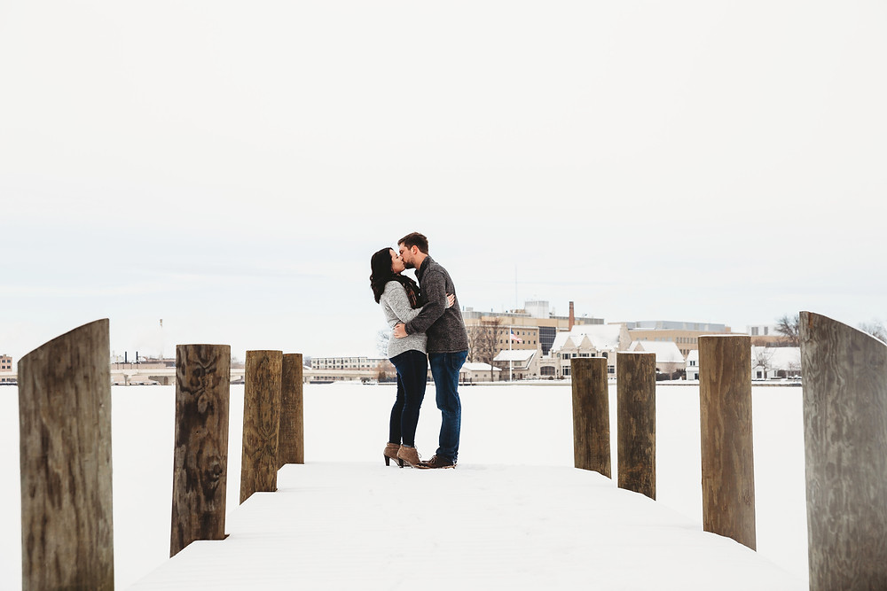 winter engagement photos neenah wisconsin