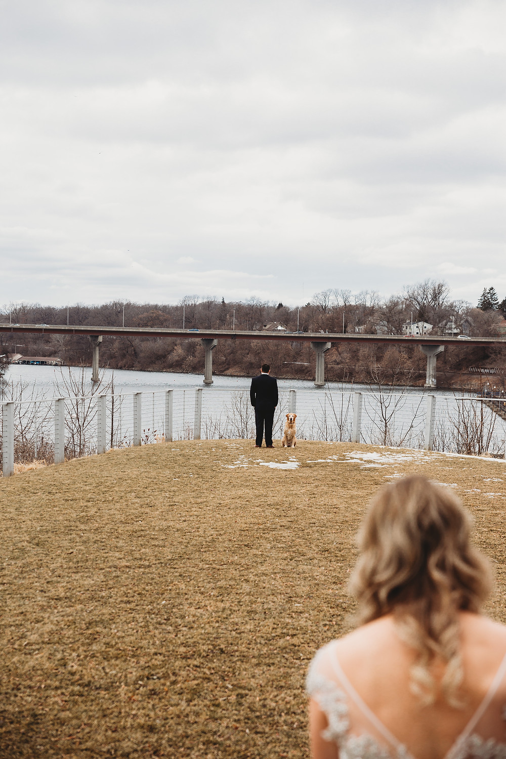 Stone Arch at Riverview Gardens Wedding | Appleton, Wisconsin Wedding First Look