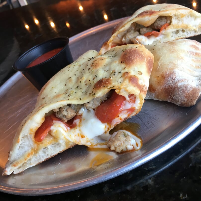 SAUSAGE AND PEPPERONI CALZONE 2
