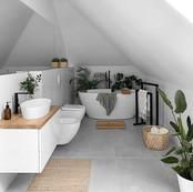 Konzeptidee: Helles Bad im Dachgeschoss