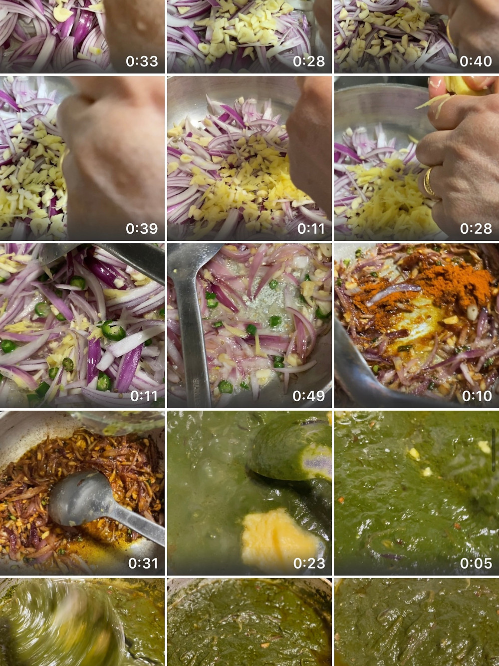 A screenshot of my camera roll showing several recordings taken during each step whilst making palak