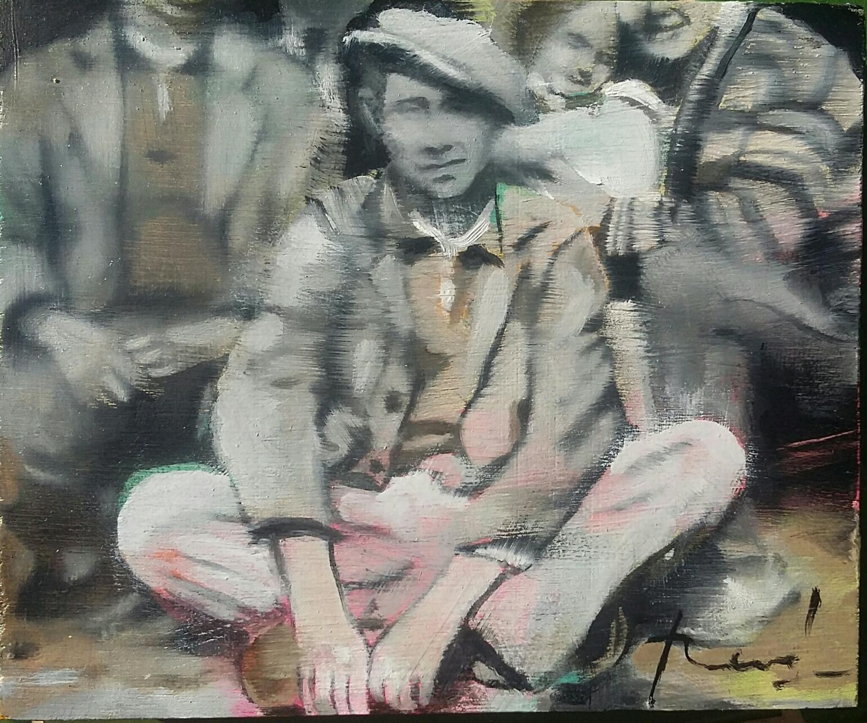 Jeannot - Huile sur bois 15x12cm