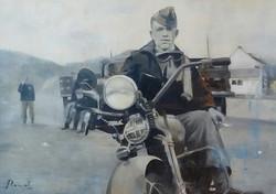 WLA in WW2, 80x60, huile sur bois
