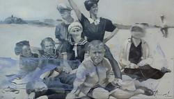 A la plage, 55x38, huile sur bois