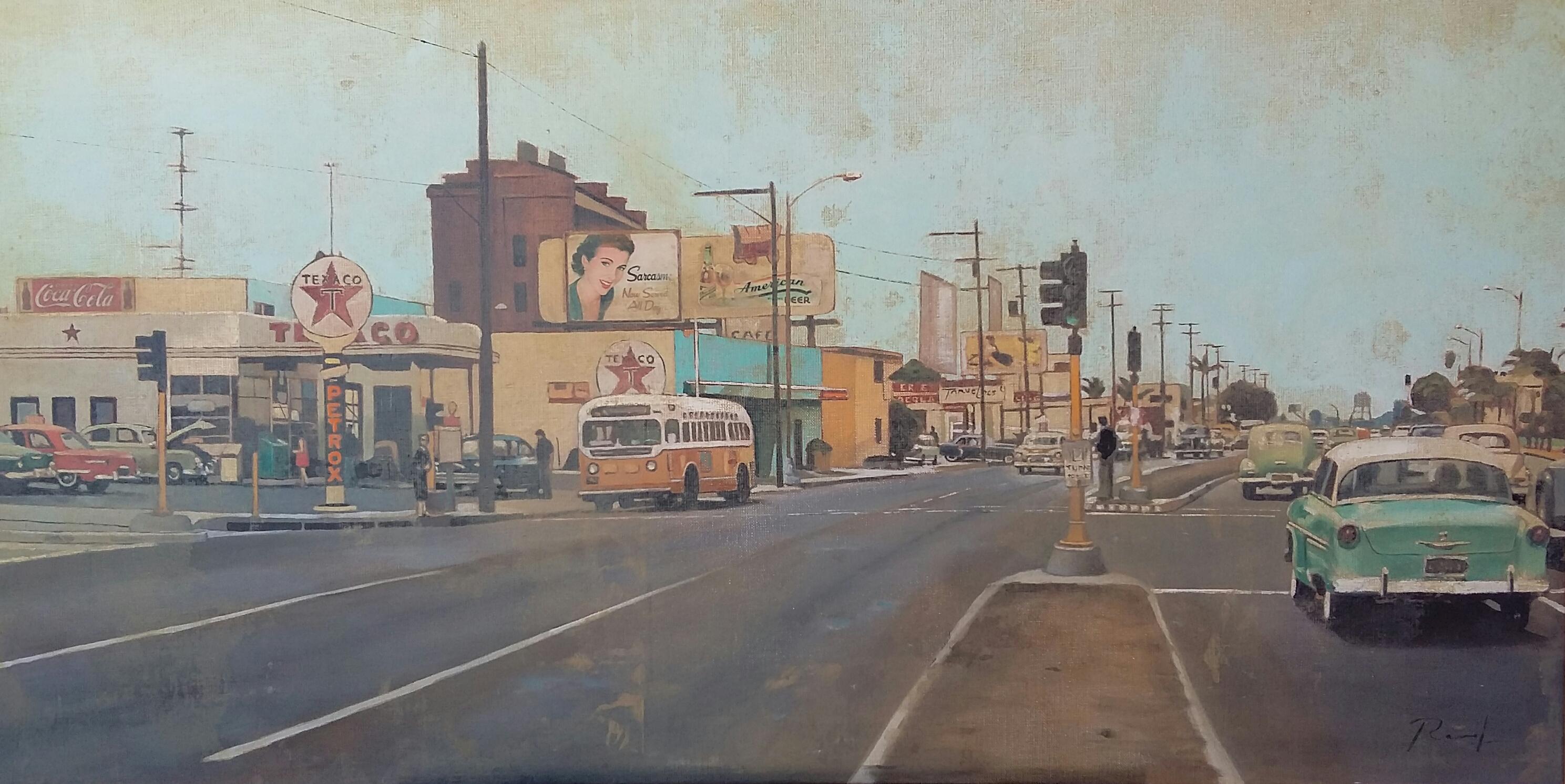 T Avenue - Huile sur toile 80x40cm