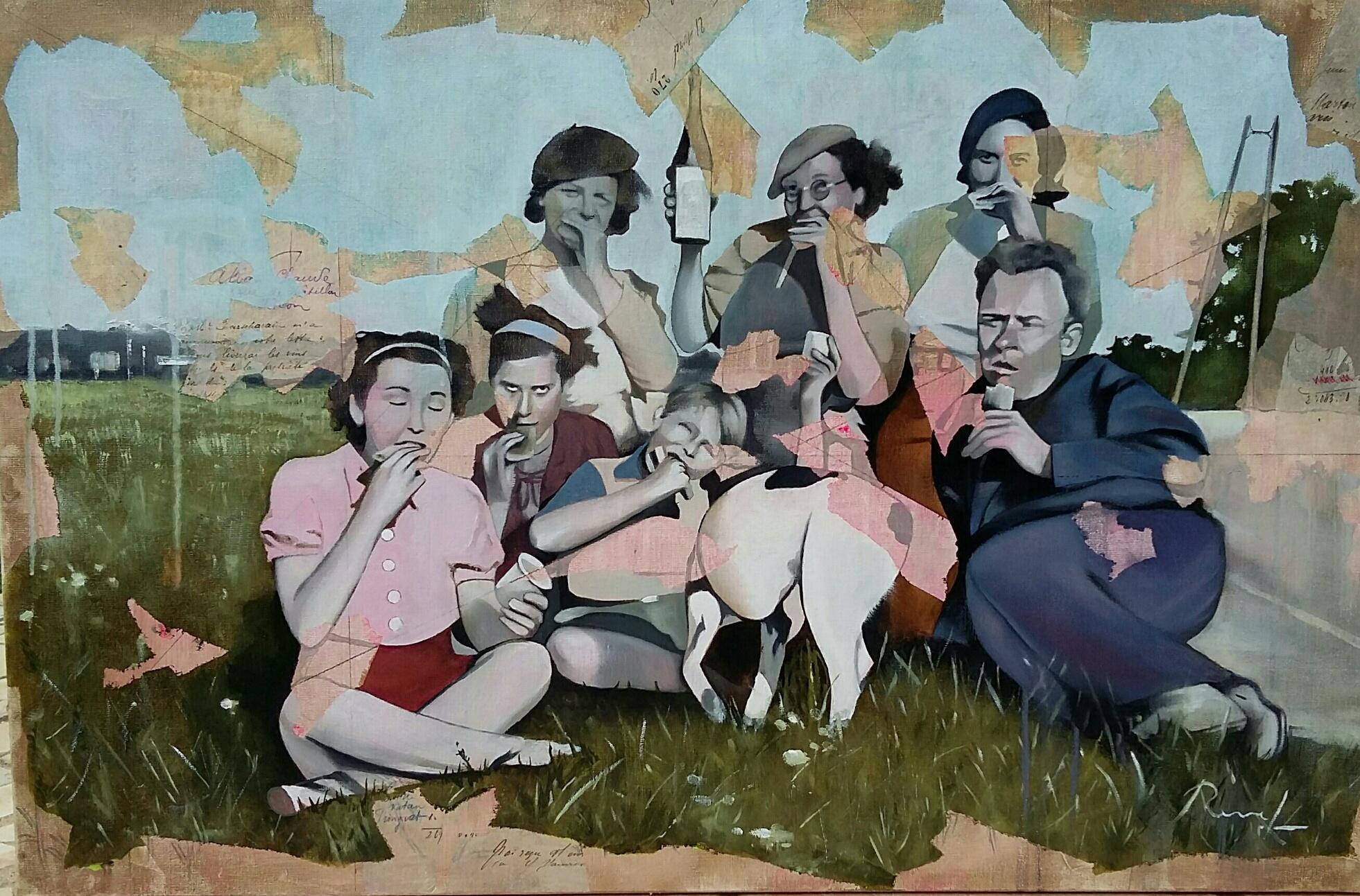"""""""Le pique-nique""""- Huile sur toile 92x60cm"""
