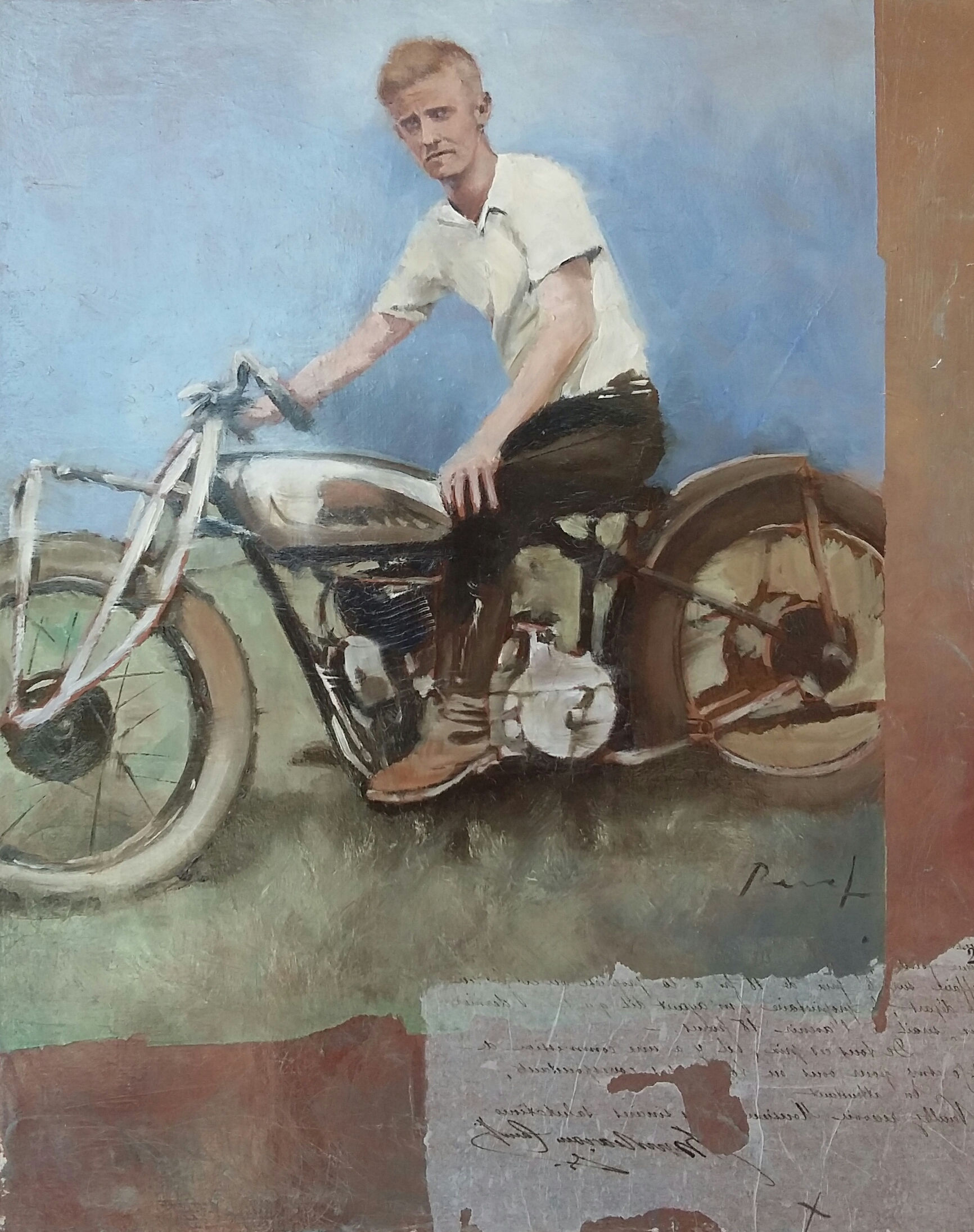 Indian motorcycle boy,80x60,huile