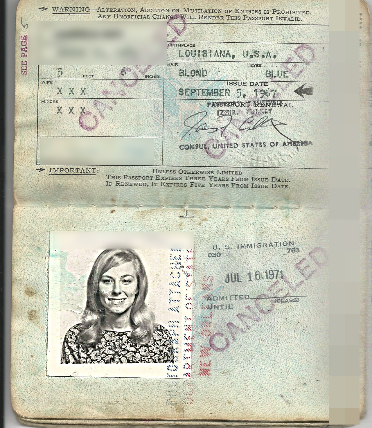 Carroll Devine 1967 passport