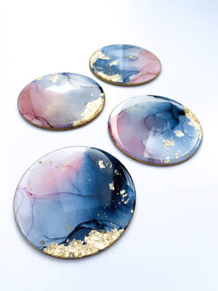 Blue and Blush Resin Art Circle Shaped Coasters
