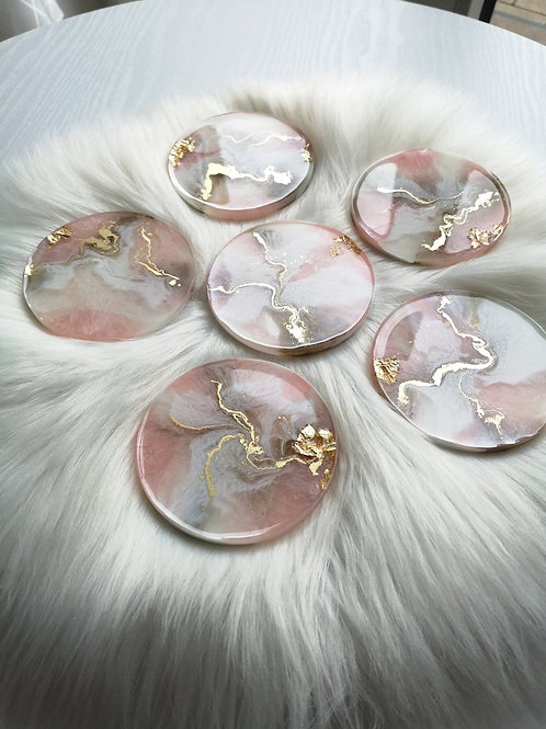 Round Resin Agate Inspired Coaster Set