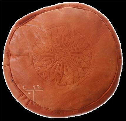 Orange Leather Puff