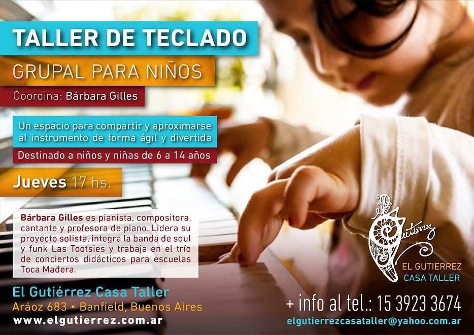 Taller de teclado grupal para niños El Gutierrez Casa Taller