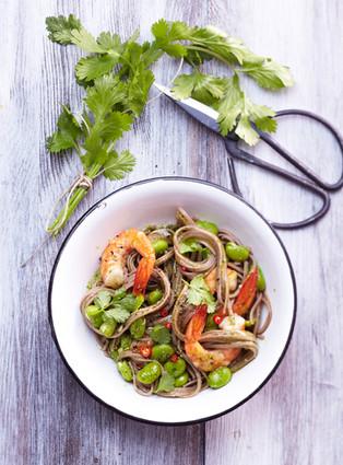 Nouilles Soba aux Crevettes et aux Fèves sans gluten