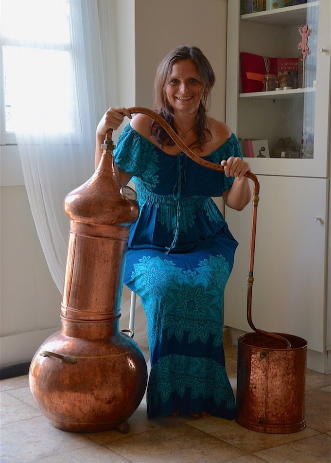 Ildiko with her copper still