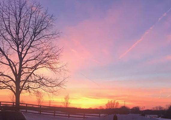 Spectacular sunset at HistoricBlumBarn.c