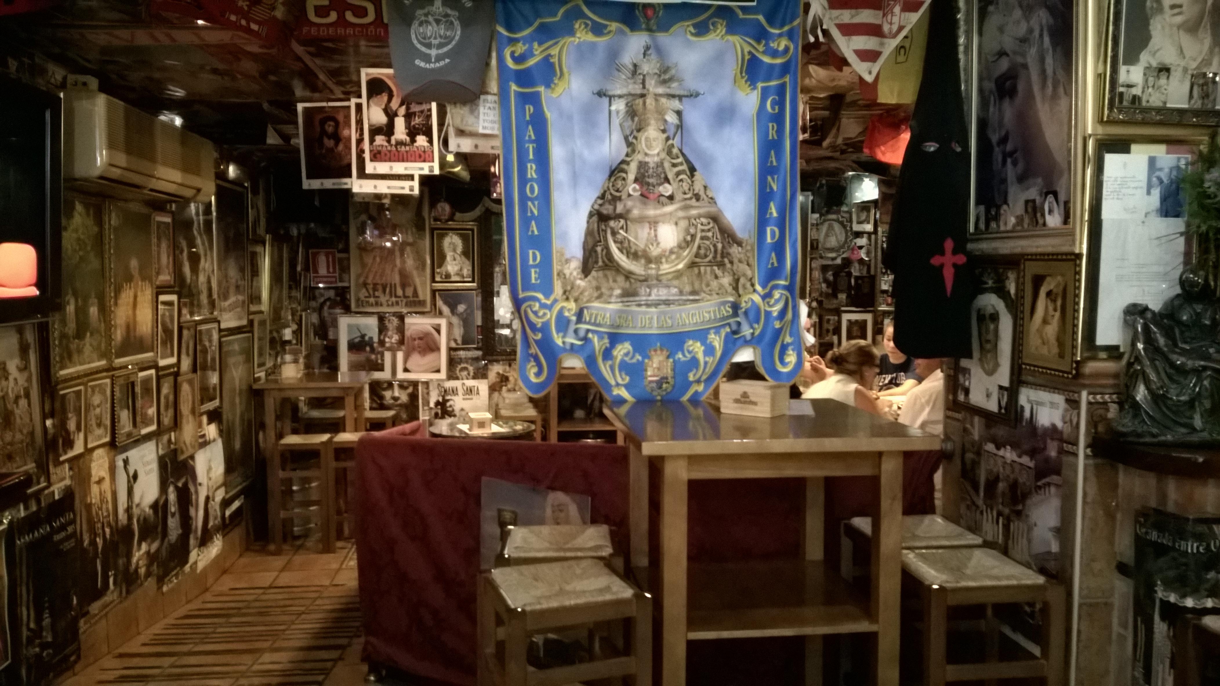 Religious bar in Granada, Spain