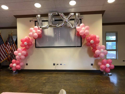 15' Clusterball Flower Arch with Name