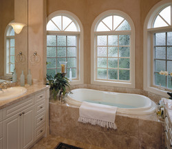 Ultra Series Picture And Casement Windows With Radius Top And Decorative Glass