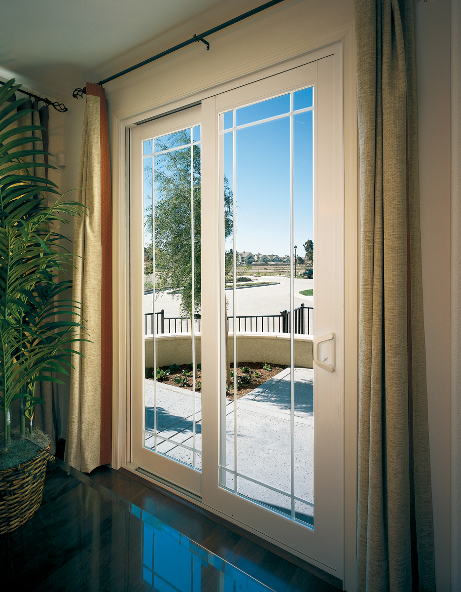 Tuscany Series Sliding Glass Door, SmartTouch Handle-Lock White With Perimeter Grids