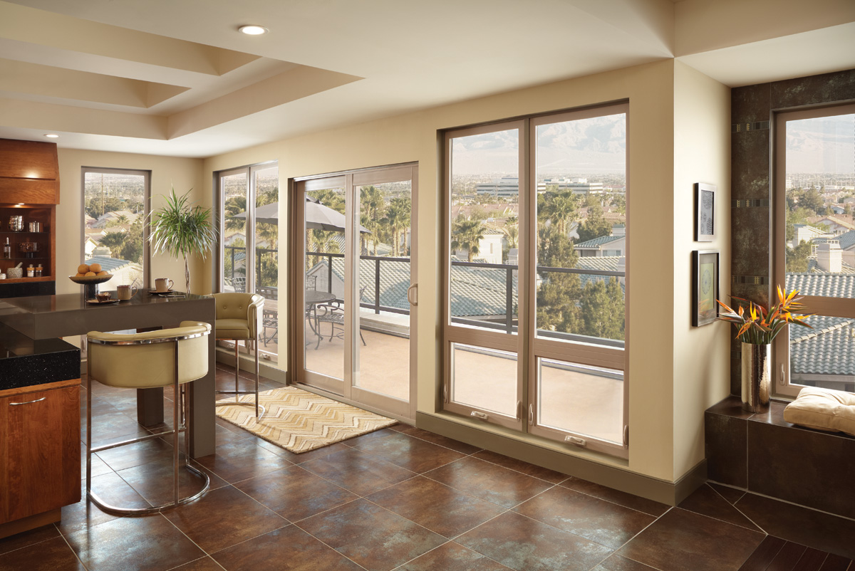 Tuscany Series Awning Windows Picture Above, Sliding Patio Door In Tan