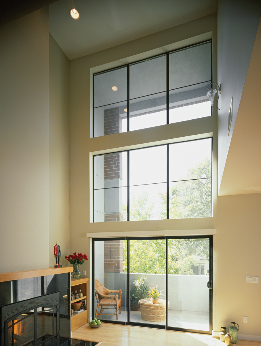 Aluminum Series 3-Panel Sliding Patio Door Mulled Picture Windows In Bronze Anodized