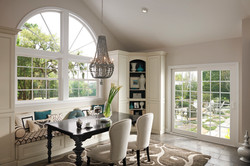 Tuscany Series Two Single Hung Windows With Colonial Grids, Sliding Patio Door