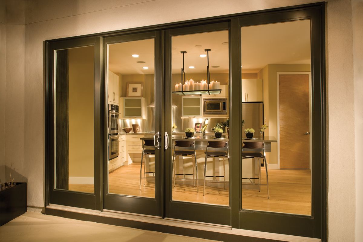 Ultra Series 4-Panel Sliding Patio Door Bark Exterior