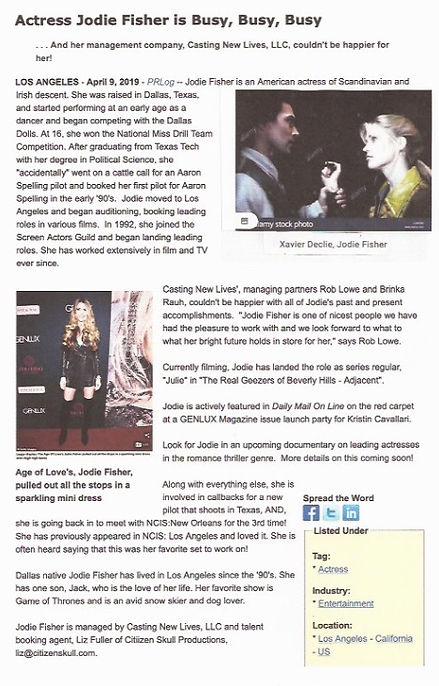 Jodie Fisher PR Release