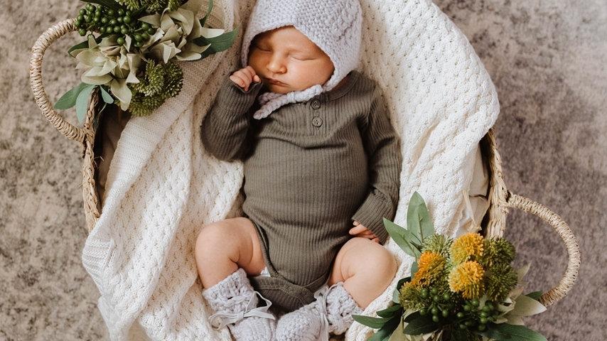 Grey Merino Wool Bonnet & Booties