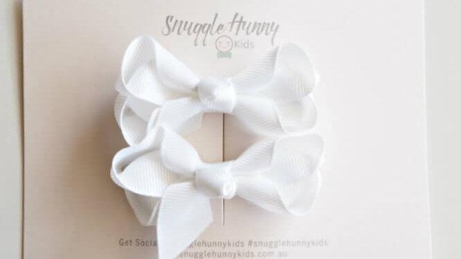 White Clip Bow - Small Piggy Tail Pair