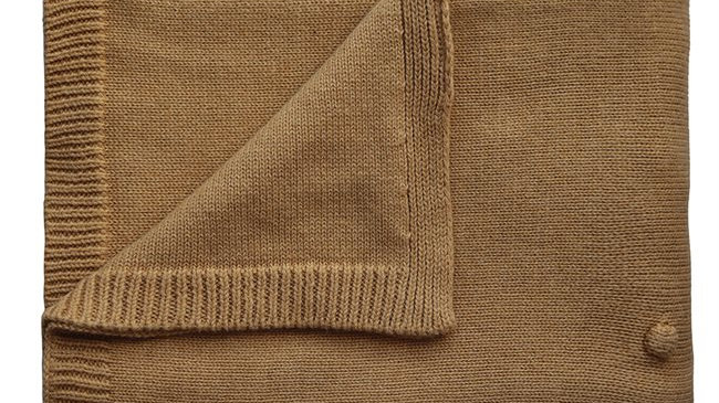 Mushie Knitted Baby Blanket Textured Dots Mustard Melange