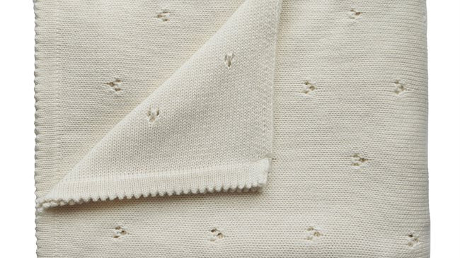 Mushie Knitted Baby Blanket Pointelle Ivory