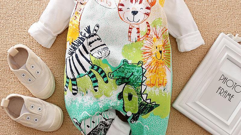 Baby Cartoon Animal Print Long-sleeve Jumpsuit