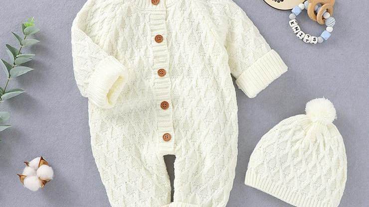 2-piece Knitted Jumpsuit with Hat