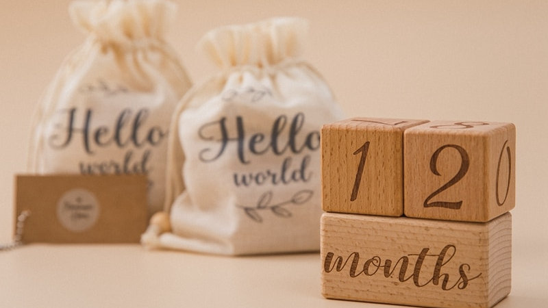 3pcs/Set Handmade Baby Milestone Blocks