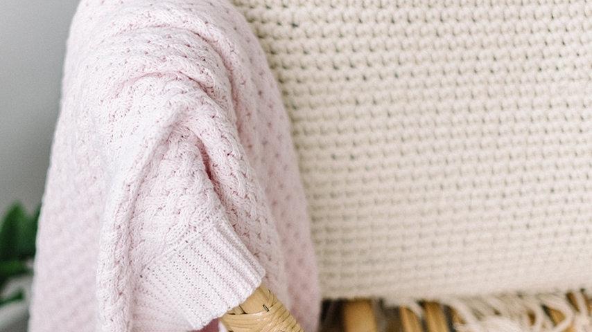 Blush Pink I Diamond Knit Baby Blanket