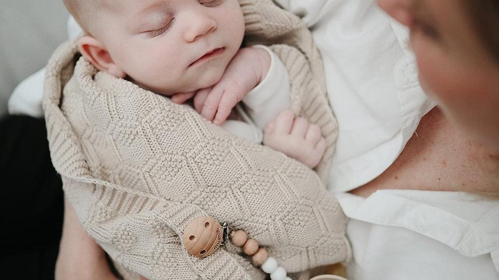 Mushie Knitted Baby Blanket Honeycomb Beige