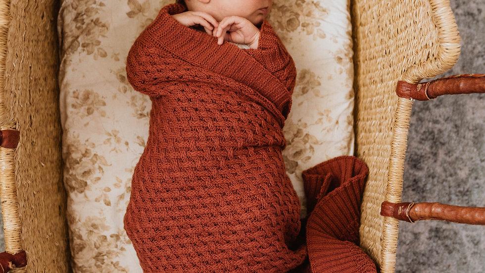 Umber   Diamond Knit Baby Blanket