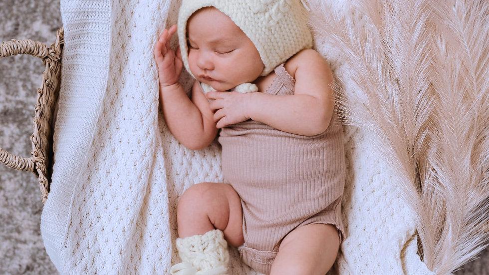 White | Diamond Knit Baby Blanket