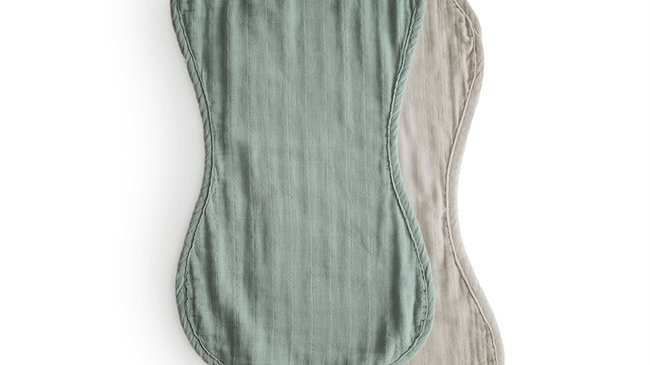 Mushie Burp Cloth Roman Green/Fog