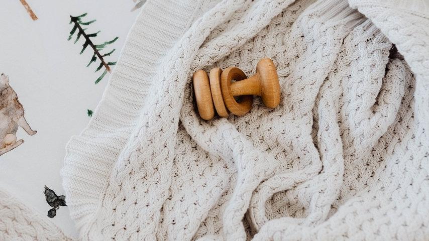 Warm Grey I Diamond Knit Baby Blanket