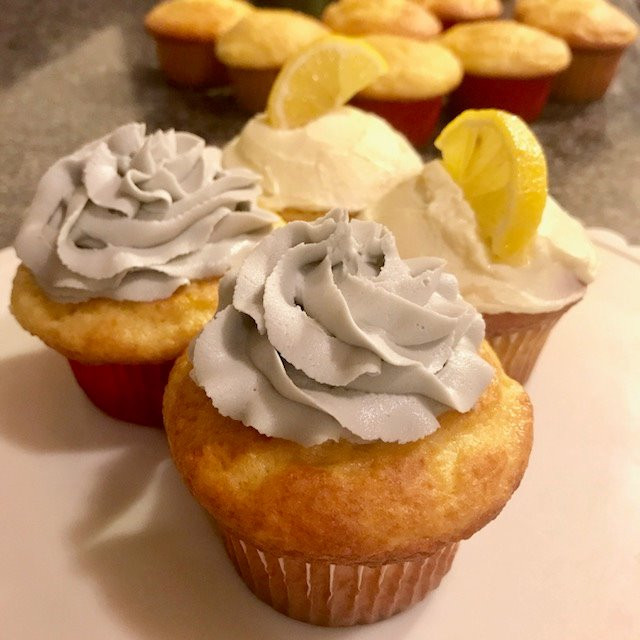 Healthy Yellow Cupcakes with Lavender or Lemon Buttercream