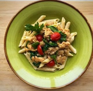 Whole Wheat Pasta with Italian Turkey Sausage & Spinach