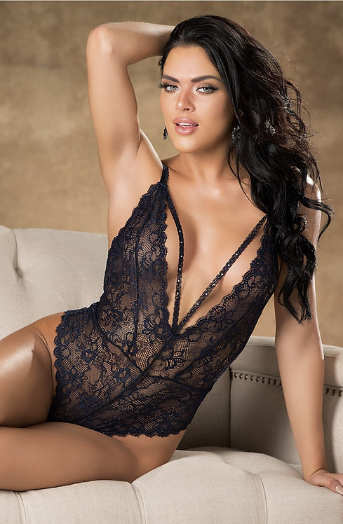 Shirley of Hollywood Lace Teddy Navy